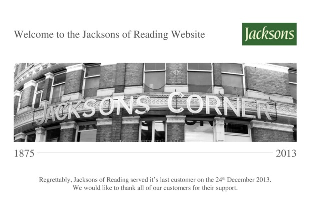 Jacksons of Reading website 8.10.14 thanking their customers.