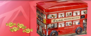 Churchill's Confectionery (English Toffees) London Bus tin. Made in the UK.