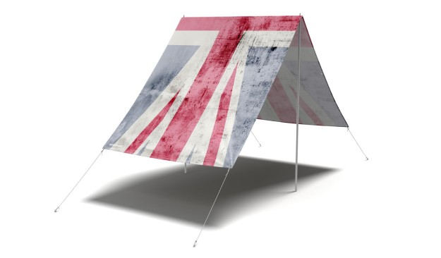 Fieldcandy Rule Britannia Union Jack sun-shade. Made in England.