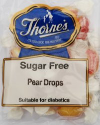 Thorne's Sugar Free Pear Drops. Made in Great Britain.