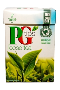 PG Tips loose tea. Blended and packed in Manchester, England (part of Unilever).