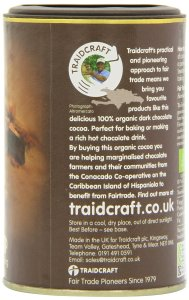 Traidcraft Organic Fairtrade Cocoa 125 g. Made in the UK.