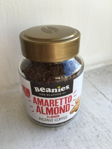 Beanies Amaretto Almond flavour instant coffee is made in the UK for Beanies.