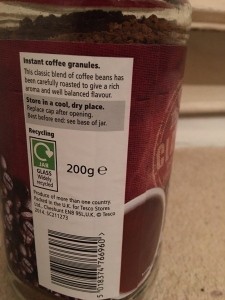 Tesco own brand Classic instant coffee. Produce of more than one country. Does not specicify where it is made specifically but abroad. Packed in the UK. Label view detail.