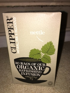 Clipper Nettle tea. EU/Non-EU agriculture imported ingredients. Blended and packed in the UK by Clipper Teas Ltd.