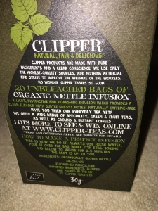 Clipper Nettle tea. EU/Non-EU agriculture imported ingredients. Blended and packed in the UK by Clipper Teas Ltd. Label view detail.