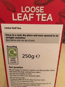 Tesco Original loose leaf tea is again produced abroad but packed in the UK. Label view.