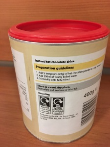 Tesco Everyday Value Instant Hot Chocolate. Produced in the UK. Rear of packaging label view. Photograph by author.