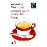 Essential Waitrose Original Blend Tea - 40 Round Bags 125g. Packed in the UK