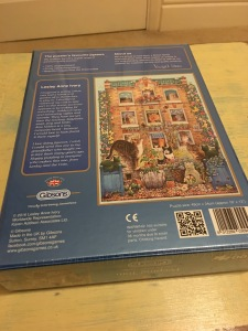 Gibsons Peeping Tom cat themed jigsaw puzzles, 500 pieces. Made in the UK and are labelled as such. Photograph by author. Rear of box view.