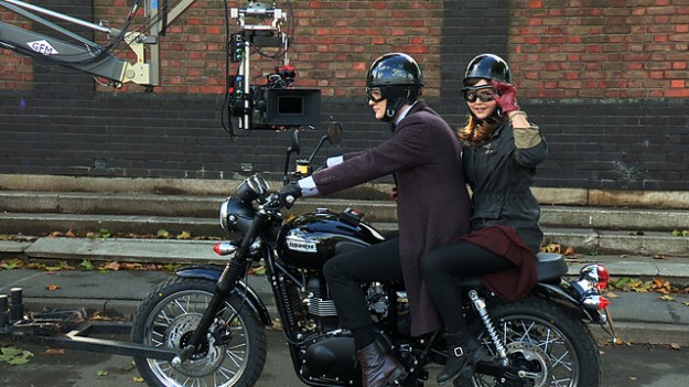 Doctor Who: The Bells of Saint John – series 33, episode six.  Matt Smith and Jenna-Louise Coleman on a Triumph motorbike.  FIRST BROADCAST: 30 Mar 2013.  http://www.bbc.co.uk/programmes/b006q2x0 - behind the scenes.
