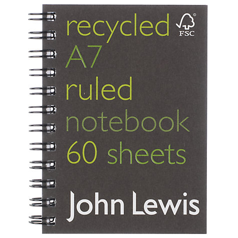 John Lewis FSC Recycled Notebook, A7. Made in the UK.