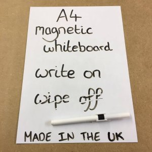 A4 Dry Wipe White Magnetic Whiteboard Fridge Magnet by THE FRIDGE MAGNET SHOP. Made in the UK.