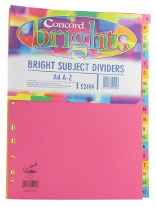 Concord A To Z 20 Part A4 File Ring Binder Index Dividers. Made in London