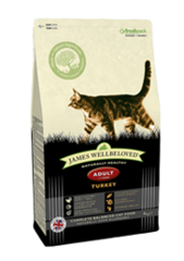 James Wellbeloved Turkey Adult dry cat food. Made in Britain.