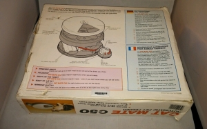 "Pet Mate Cat Mate C50 Automatic Cat Feeder. Rear of packaging view. The words ""designed and manufactured in the UK"" are visible bottom left."