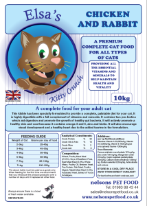 Elsa's Kitty Chicken And Rabbit 10kg adult solid cat food by Nelsons Pet Food. Made in Britain.