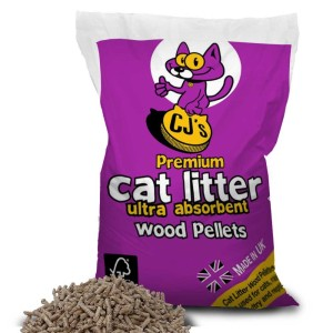 CJs Premium Cat Litter. Wood Based Pellets. Made in UK.