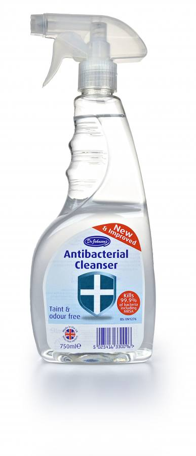 Dr Johnson's Antibacterial Cleaser. Made in th UK by MPM Consumer Products Ltd.