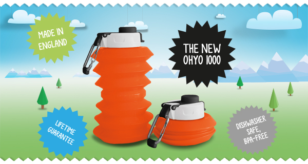 Ohyo 1000ml collapsable drinks bottle. Made in England.