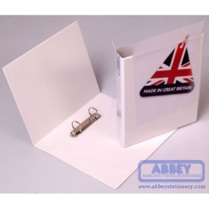 Abbey A4 White PVC Presentation Binder - Fitted 2D 25mm Mechanism. Made in Great Britain.