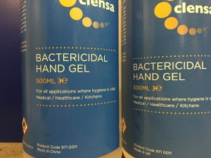Banner Clensa Bactericidal Hand Gel. Made in the UK and made in China versions.