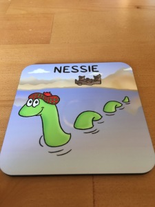 Vanessa Bee Designs Limited Nessie coaster. Manufactured in the UK. Photograph by author.