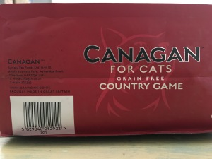 Canagan for Cats Country Game grain free dry food. Proudly Made in Great Britain. Bottom of packet label view. Photograph by author.