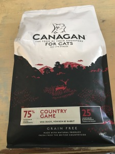 Canagan for Cats Country Game grain free dry food. Proudly Made in Great Britain. Front of packet view. Photograph by author.