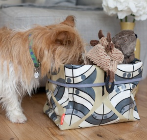 Maisie Storage Basket in Leaf fabric. Made in the UK for Poppy & Rufus.