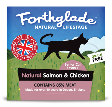 Forthglade Natural Lifestage Salmon and Chicken wet cat food. Made in England.
