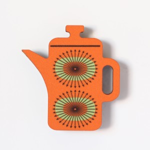 Coffee Pot- Fridge Magnet. Orange. Made in the UK by Beyond the Fridge.