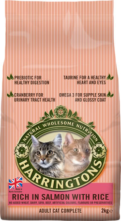 Harringtons Adult Cat Complete Rich in Salmon with Rice dry pet food for all cats. Made in England.