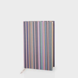 Paul Smith Stationery - Pink Signature Stripe Hardback Linen Notebook. Made in England.