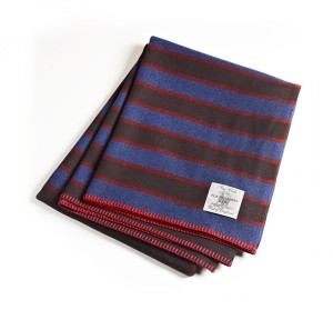 Woollen Striped Blanket by Fox Brothers.  Made in England.