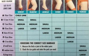 Easigrip Elasticated-Support Bandage size guide