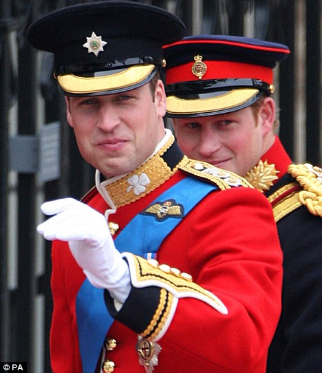 Wedding of Prince William and Catherine (Kate) Middleton, London, 29.4.11 - Princes William and Harry.  Uniforms by Kashket and Partners, buttons and accesories by Firmin & Sons, fabric by Hainsworth.