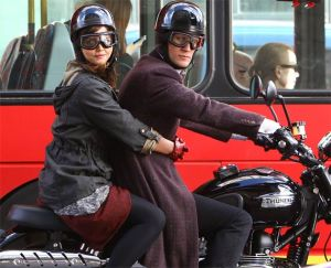 Dr Who (Matt Smith) and Clara (Jenna Louise Coleman) in The Bells of Saint John, March 2013, riding a Triumph and wearing the Davida Classic helmet (sadly the goggles are French made).