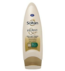 Boots Soltan SPF15 suncare spray. Made in the UK