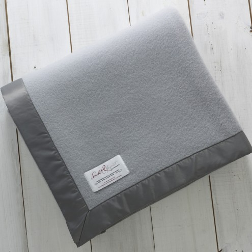 Scarlet and Argent Chamber Blanket - grey. Made in England.