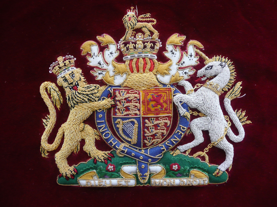 Coat of Arms - British Royal Family - embroidered by Hand and Lock