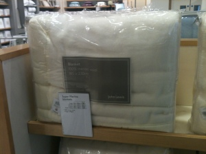 John Lewis merino wool blanket. Made in Britain.