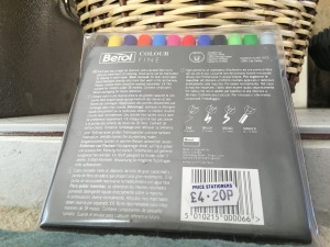 Vintage Berol Colour Fine felt tips. Made in England. Rear of packet view. Sadly Berol felt tips are now all foreign made.