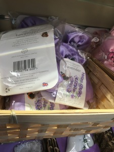 White Rose Aromatics shop display of lavender sachets. Photograph by author.