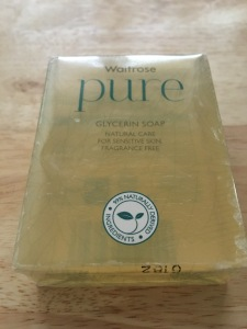 Waitrose Pure glycerin soap bar. Made in England.