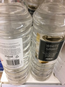 Tesco White Spirit. Made in the UK. On display in Tesco Flitwick 30 January 2017. Photograph by author.
