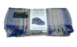 120 x 150cm ~ Small Recycled Wool Picnic Rug Throw Travel Blanket by Tweedmill. British made.