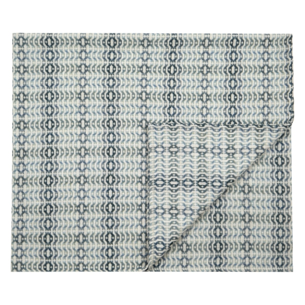 Llarwydden blue single blanket by Poncelet and Tregwynt. Made in Wales