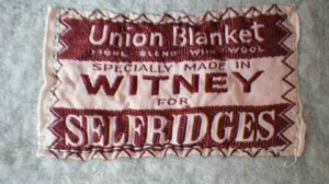 Vintage Wool Blend Blanket from Selfridges:Witney. Made in England. Label view