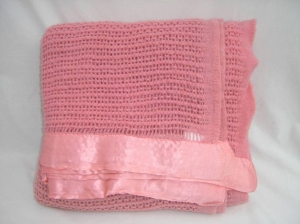 Wool cellular blanket by Early's of Witney Pink. Made in England